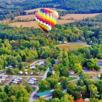 aerial view of hot air balloon