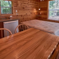 inside of cabin with table, kitchenette and bed