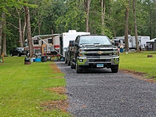 truck parked at campsite